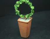 OOAK Ivy Topiary In Tall Pot12th ScaleCold Porcelain Flowers Dolls House MiniatureFairy GardenHandmade Miniature