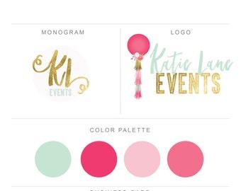 logo-logo design-premade logo-custom logo-branding-branding package-pink-mint-balloon