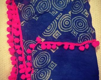 Scarf/Head scarf Indian indigo block print