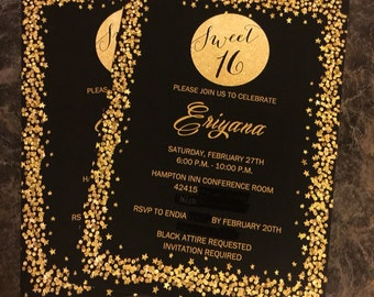 Printed Sweet Sixteen Invitation, Sparkle Invitation, 16th Birthday Invitation, Birthday Party Invitation, Girl Birthday Party Gold, Black