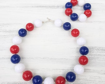Red White And Blue Bubblegum Necklace, 4th of July Bubblegum Necklace, Red White And Blue Necklace, Chunky Necklace, Toddler Necklace, Baby
