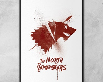 The North Remembers Print 'Stark' Sigil Game of Thrones Poster Inspired Artwork