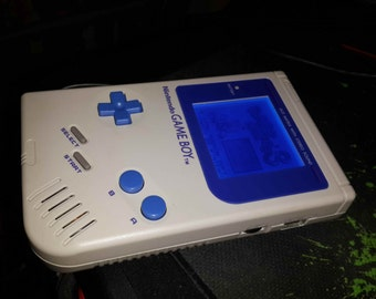 Customized/Modded Gray/Blue Game Boy DMG-001 with Blue Back-Light