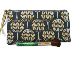 Citrus tree pencil case, retro make up bag,  pencil case, zippered cosmetic case, pencil pouch, tulip pouch, feminine  pouch, Kokka fabric