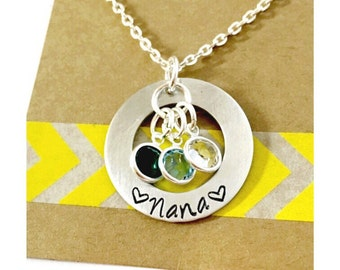 Birthstone Necklace, Nana Necklace Hand Stamped Name Necklace Small Washer Mothers Day - Hand Stamped Jewelry - Family Necklace - Mothers Ne