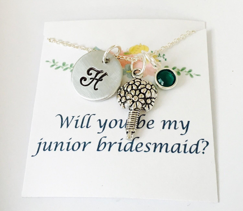 Wedding Gift Ideas For Junior Bridesmaids : Junior Bridesmaid Necklace Junior Bridesmaid Gift Wedding