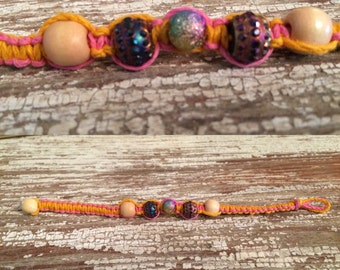 Orange & pink hemp bracelet 7 inches