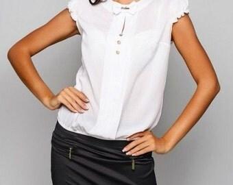 White blouse  office white blouse wear for women Blouse business woman Secretary clothes Blouse short sleeves summer blouse