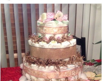 Burlap Diaper Cake 3 Tier GIRLS