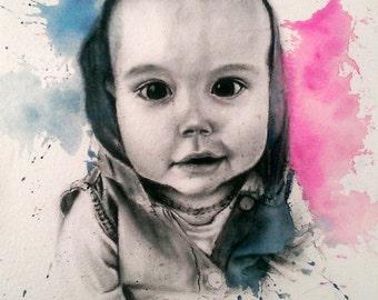 Custom Portrait/Charcoal/Watercolour/A4