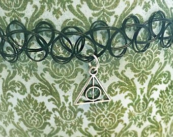 Deathly Hallows Tattoo Choker Necklace Black Harry Potter