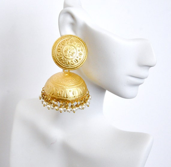 Matt gold jhumki earrings | Indian earrings | Indian jhumkis
