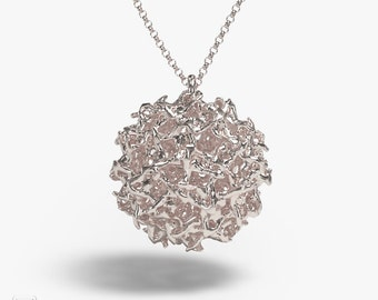 science jewelry: silver west nile virus necklace - viral pendant - wearable virus - microbiology - Flavivirus
