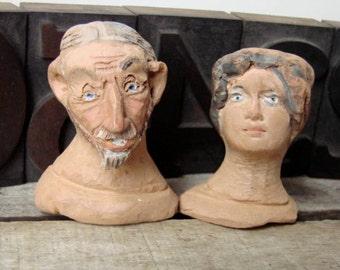vintage French santons/santon/dolls head/figurine/clay/provence/provencal doll /miniature /head/folk art/art collectible doll/santon doll