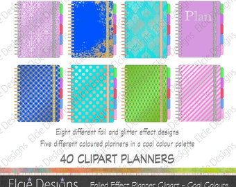 Foil and Glitter Effect Planner Clipart Set (Cool Palette) - 8 Patterns x 5 Colours = 40 Clipart Planners
