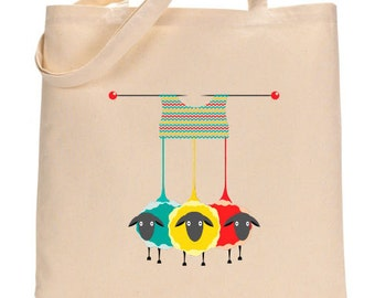 Canvas Tote - Knitting with sheep