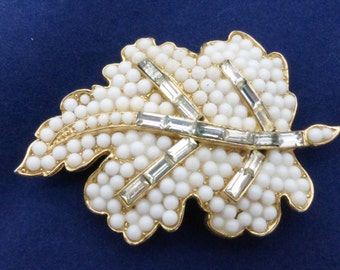 WEISS Leaf Brooch white milk glass and clear baguette rhinestones AA730