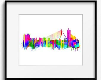 Rotterdam Skyline Watercolor Art Print (366) Cityscape Holland