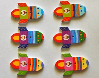 6 Wooden Rocket Ship Buttons  - #SB-00239