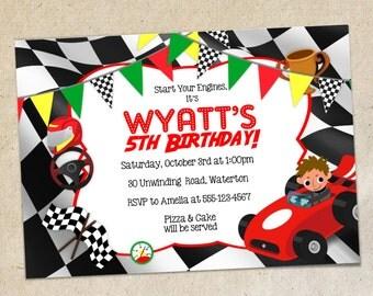 racing birthday diy | etsy, Birthday invitations