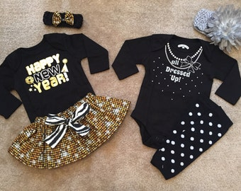 New Years outfit Dress up baby girl 1st Christmas sister my first skirt or leg warmers set optional headband bow NB 3 6 9 12 toddler