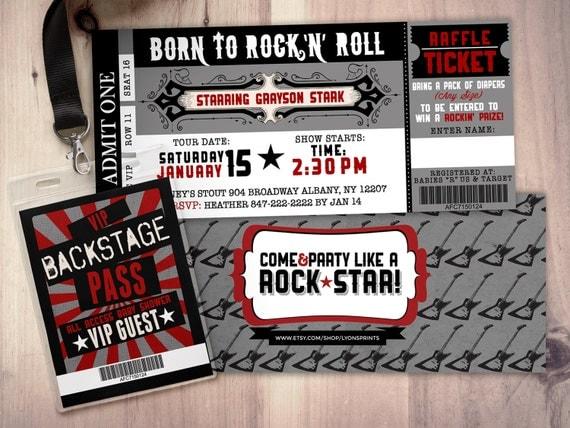 Rock star concert ticket baby shower invitation coed baby shower il570xn filmwisefo