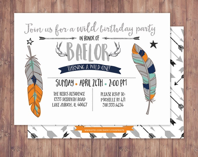 Tribal, birthday Invitation, BOHO birthday Invite, feathers , invitation, arrows, pow wow, baby girl, baby boy, first birthday, 1st, wild
