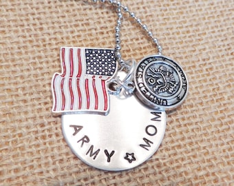 """Hand Stamped Silver """"Army Mom"""" Necklace (also available in """"Army Wife"""")"""