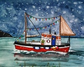 Holiday Boat CARD