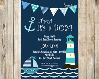 Navy Nautical Baby Shower Invitation, Ahoy It's A Boy Digital Invite, Navy Blue Teal Baby Boy Shower, DIY Printable Sailor Anchor Lighthouse