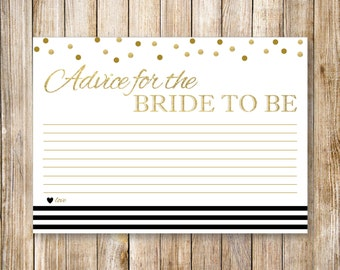 Black NAUTICAL ADVICE CARDS, Printable Bridal Shower Advice Card, Gold Polka Dots Confetti, Diy Digital Wedding Advice for Brides Printables