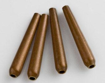 Vintage brass elongated narrow teardrops. 25x4mm. Package of 4. b18-0409(e)