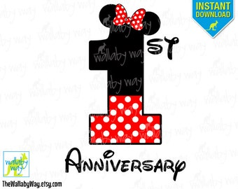 1st Anniversary Minnie Mouse Printable Iron On Transfer or Use as Clip Art - DIY Disney Shirts, Anniversary, Matching, His and hers, first