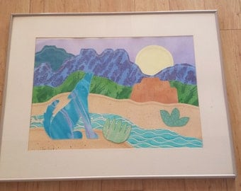 Large 1990's Coyote Desert Scene Paper Collage Picture Art Work Framed , matted and in glass 28x22