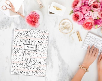 NOTES Black and White Polka Dot Notebook with Blush Stripes