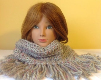 Cowl Fringed Gray Scarf