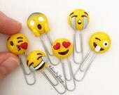 Emoji Paperclip Polymer Clay Kawaii (Choose One)