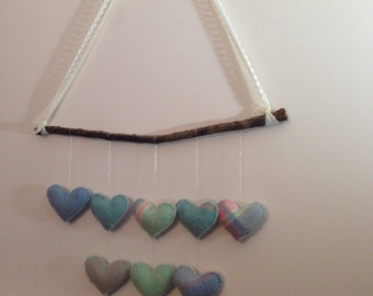 Heart strings wall hanging