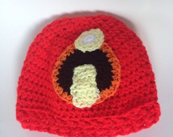 Crochet Red Incredibles Hat, Kids Hat, Adults Handmade Beanie