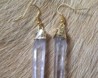 Gold Natural Clear Crystal Quartz Pendulum Column Dangle Earrings