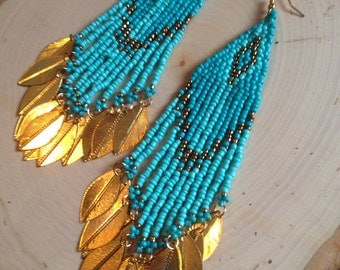 Turquoise and Gold Beaded Dangle Earrings