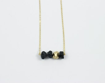 Black & Gold Dipped Tourmaline Necklace