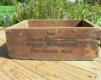 WOODEN BOX: Vintage Advertising Crate, Mueller Brass, 1940s