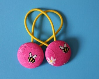 Bumble Bee - Buzzy Bee - Fabric Button Hair Ties