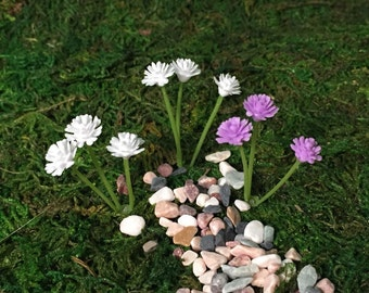 Miniature Flowers, Fairy Garden Accessories, White and Purple Bouquets, Terrarium, Doll House