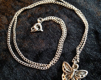 Butterfly - Silver necklace - Handmade - Silver charms