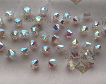 Swarovski #5301 Crystal AB 2X Bicone Faceted Beads 3mm 4mm 6mm