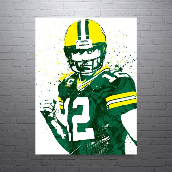 aaron rodgers green bay packers poster by pixartsy on etsy