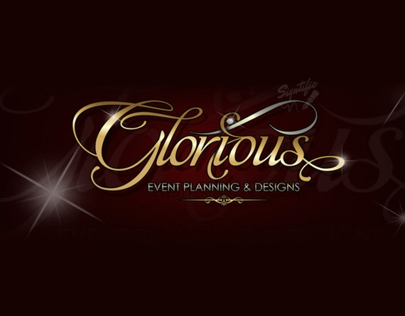 Custom text logo with blings event planning logo design gold and