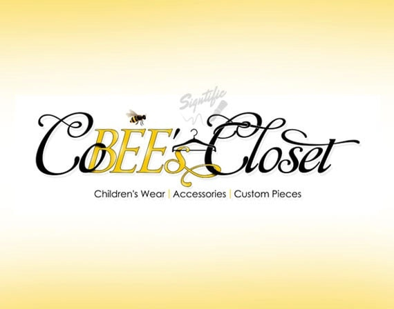 Custom logo design, yellow and black fashion logo, high resolution logo, clothing line closet logo, logo with fashion clip art image design